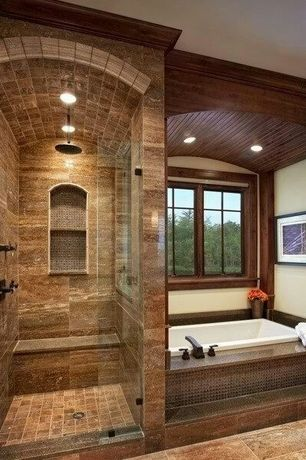 Traditional Master Bathroom with Natural wood window frame, American Standard Town Square 2555.920 Tub Filler, Rain shower