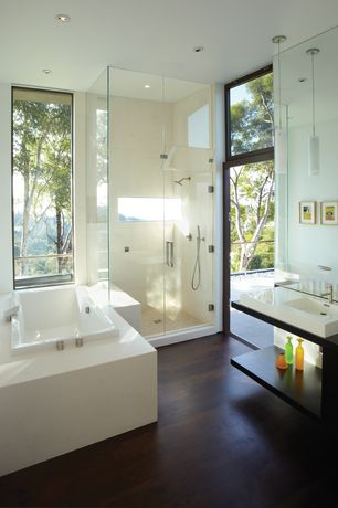 Contemporary Master Bathroom with Pendant light, frameless showerdoor, Wood counters, Handheld showerhead, Hardwood floors