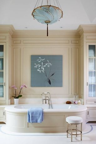 Traditional Master Bathroom with Flat panel cabinets, Chandelier, Bathtub, drop in bathtub, Standard height, Paint