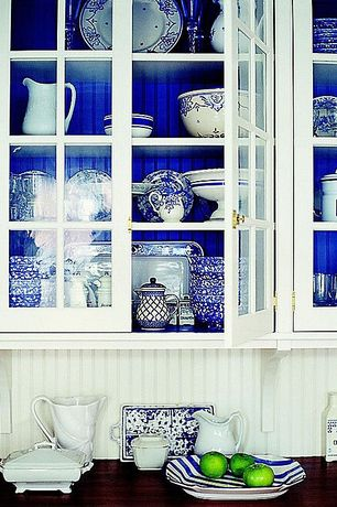 Country Kitchen with Glass front cabinets, Paintable white beadboard, Paint, Blue and white china