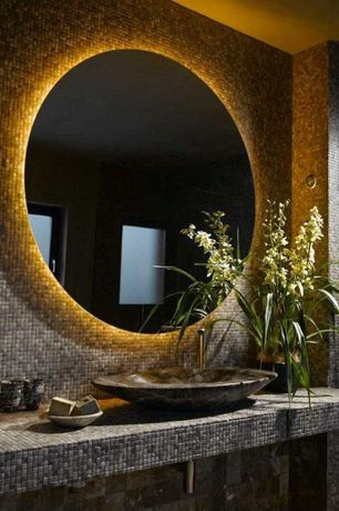 Contemporary Powder Room with High ceiling, Ceramic Tile, Roterra slate mosaic - slate mosaics in multi raja, Vessel sink