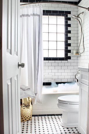 Traditional Full Bathroom with curtain showerdoor, shower bath combo, Standard height, stone tile floors, Paint, Shower