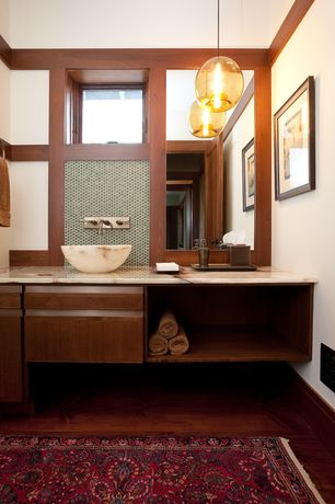 Contemporary Full Bathroom with Vessel sink, Signature Hardware Round Polished Onyx Vessel Sink, Pendant light, Flush