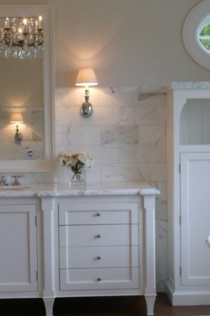 Traditional Full Bathroom with Laminate floors, Chandelier, Flush, Restoration hardware campaign single sconce, Wall sconce