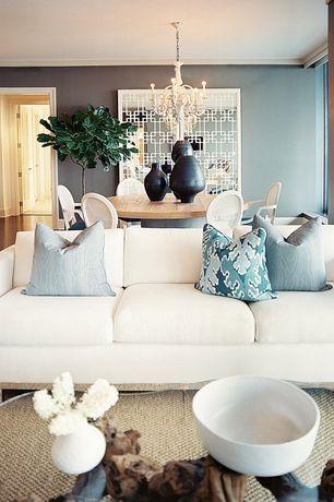 Contemporary Living Room with Carpet