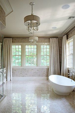 Traditional Master Bathroom with Freestanding, Master bathroom, Bathtub, double-hung window, Shower, Standard height