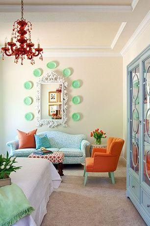 Eclectic Master Bedroom with Built-in bookshelf, Carpet, Standard height, Chandelier, Exposed beam, Crown molding, Paint