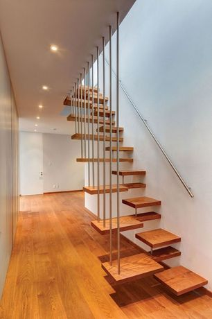 Contemporary Staircase with High ceiling, Floating staircase, Hardwood floors