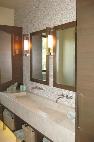 Contemporary Master Bathroom with Standard height, stone tile floors, Flush, Ceramic Tile, European Cabinets, Casement