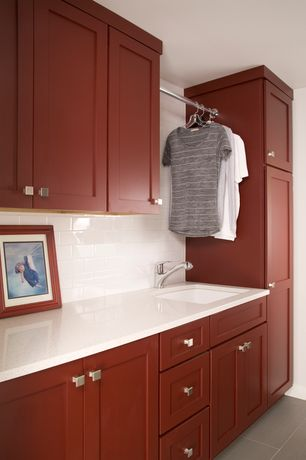 Contemporary Laundry Room with Standard height, soapstone tile floors, laundry sink, Undermount sink, stone tile floors