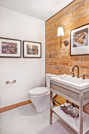 Contemporary Powder Room with Wood wall, Powder room, Wall sconce, penny tile floors, Tile floor, full backsplash, Paint 1