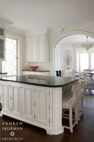 Traditional Kitchen with dishwasher, Glass panel, U-shaped, Kitchen island, Soapstone counters, Large Ceramic Tile