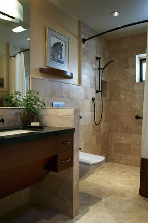 Contemporary 3/4 Bathroom with Flush, Absolute black granite, Daltile vail 1535 12x12 field tile, Handheld showerhead