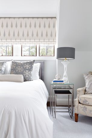 Contemporary Guest Bedroom with Pasos Nesting Table, Casement, Wallace fabric bed, Jostelyn Lamp, Carpet, Paint 1
