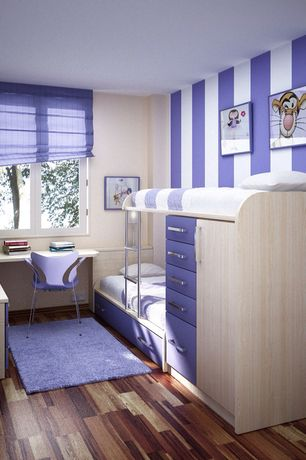Contemporary Kids Bedroom with KAS Oriental Rugs Bliss Purple Area Rug, paint3, Bunk beds, Built-in bookshelf, Art desk