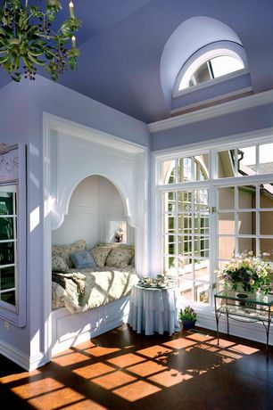 Traditional Guest Bedroom with Natural light, Paint, Casement, Built-in daybed, High ceiling, Arched window, Concrete floors