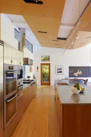 Contemporary Kitchen with Flush, Textured wall finish, Pendant light, Breakfast nook, French doors, European Cabinets