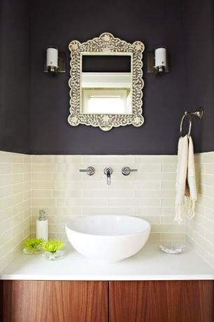 Contemporary Powder Room with Vessel sink, Flush, Corian counters, Artic 4 in. x 16 in. x 8 mm Glass Wall Tile, Powder room
