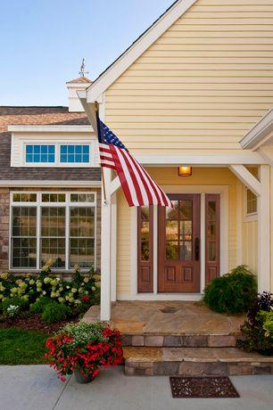 Country Front Door with Glass panel door, Pathway, exterior tile floors