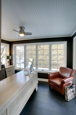 Cottage Home Office with Ceiling fan, Built-in bookshelf, Standard height, Casement, Concrete tile