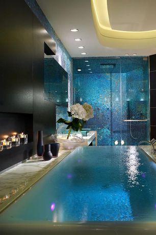 Modern Master Bathroom with Arizona tile, CALACATTA SUPER EXTRA, Marble, Shower jets, Custom Frameless Shower