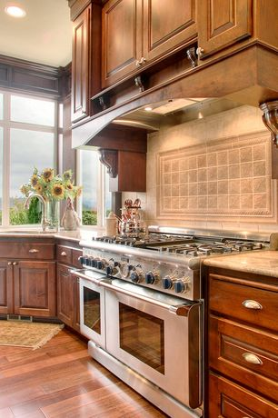 Traditional Kitchen with Hickory Hardware American Diner Cup Pull, MS International Giallo Fantasia Granite