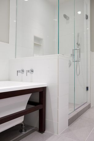 Modern Master Bathroom with frameless showerdoor, Handheld showerhead, Master bathroom