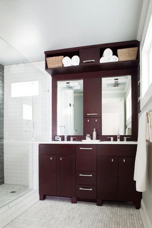 Contemporary Master Bathroom with frameless showerdoor, Flush, European Cabinets, Undermount sink, Crown molding, Double sink