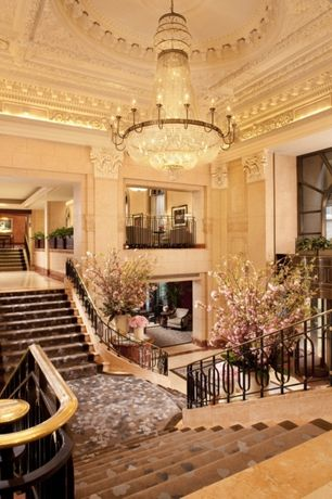 Traditional Staircase with Carpet, Crown molding, High ceiling, Chandelier, Balcony