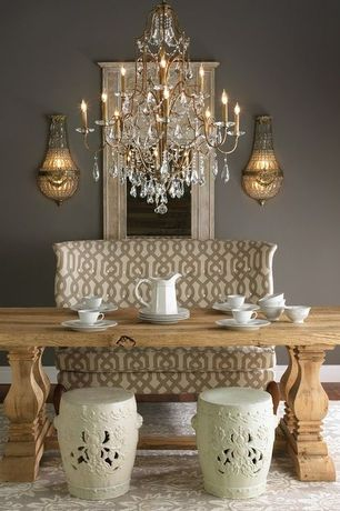 Contemporary Dining Room with Chandelier, Restoration hardware: salvaged wood trestle rectangular dining table, Wall sconce