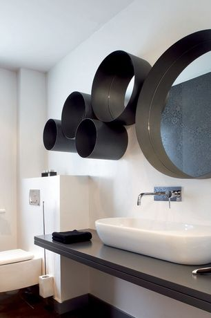 Contemporary Master Bathroom with Corian counters, Standard height, Vessel sink, terracotta tile floors, Master bathroom