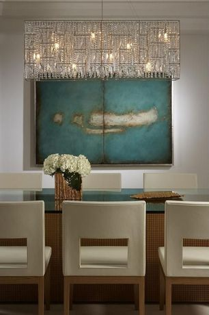 Contemporary Dining Room with James r. moder vesta 6-light imperial crystal chandelier, Chandelier, Carpet, Concrete floors
