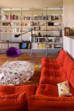 Modern Living Room with Columns, sliding glass door, Corian Designer White Solid Surface, Built-in bookshelf, Paint 1