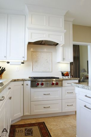 Traditional Kitchen with Complex granite counters, sandstone tile floors, U-shaped, Subway Tile, Inset cabinets
