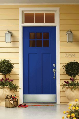 Traditional Front Door with Cement patio, Restoration hardware - vintage french gas lantern sconce - polished nickel