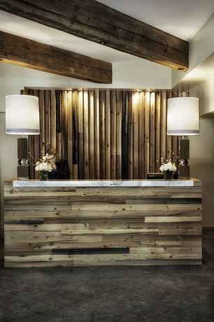 Contemporary Hallway with Built-in bookshelf, Sustainable Lumber Prefabricated Pallet Wood Wall Panels, Exposed beam