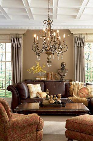 Traditional Living Room with Simon Li Charleston Leather Sofa, Carpet, Box ceiling, Chandelier, Crown molding