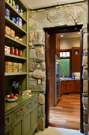 Eclectic Pantry with limestone tile floors, Paint, stone tile floors, Standard height
