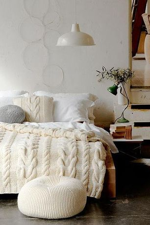 Rustic Guest Bedroom with Paint 1, Standard height, Pendant light, Chunky cable knit blanket, Hardwood floors