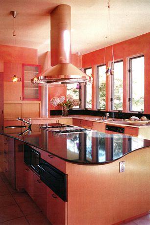 Modern Kitchen with Flush, built-in microwave, terracotta tile floors, L-shaped, partial backsplash, electric cooktop