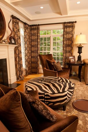Eclectic Great Room with Brody armchair, high back, Cowhide ottoman: dark brown striped stenciled cowhide zebra, Paint 1