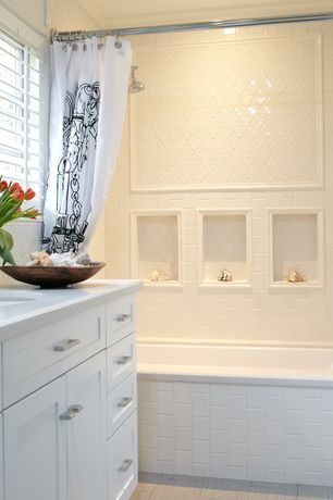 Traditional Full Bathroom with Ms international whisper white arabesque 8mm ceramic tile, Dupont Corian Designer White