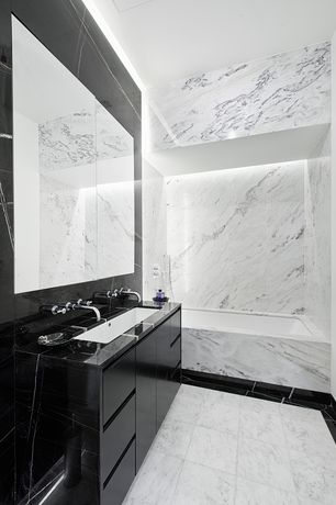 Contemporary Full Bathroom with MS International Greecian White 12 in. x 12 in. Honed Marble Floor and Wall Tile, Flush