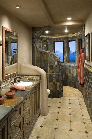 Mediterranean 3/4 Bathroom with High ceiling, Master bathroom, Daltile slate collection indian multicolor (tumbled), Flush