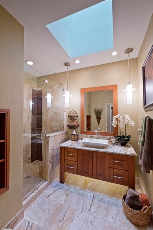 Modern 3/4 Bathroom with three quarter bath, partial backsplash, Wall Tiles, frameless showerdoor, stone tile floors, Flush