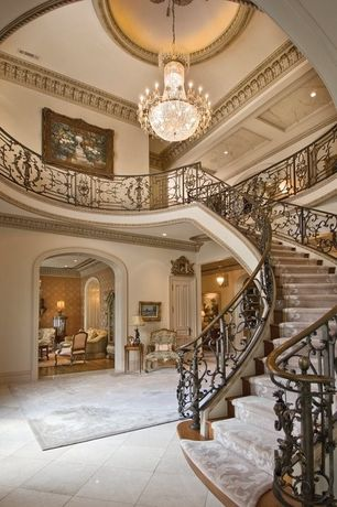 Beautiful Staircase Interior Art Deco Entryway With Limestone Tile Floors Chandelier Antique