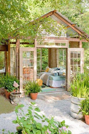 Craftsman Landscape/Yard with Transom window, Bird bath, Glass french doors, Gazebo, Pathway, French doors, Arched window