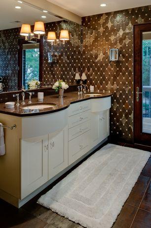 Contemporary Master Bathroom with Standard height, Simple Granite, stone tile floors, Undermount sink, Powder room