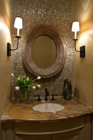Contemporary Powder Room with Wall sconce, High ceiling, Oregon tile and marble natural stone slab granite - golden hurricane