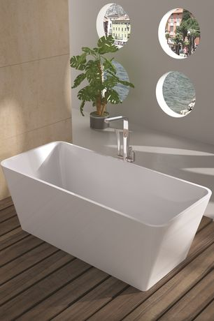 Contemporary Master Bathroom with Signature Hardware Metis Freestanding Tub Faucet, Powder room, Freestanding, Bamboo floors